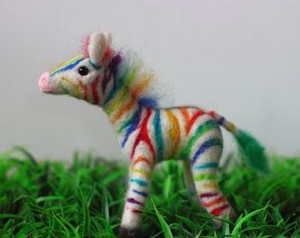 Needle felted Rainbow Zebra One-of-a-kind OOAK
