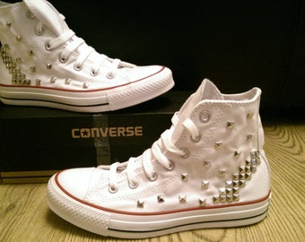Customised White square studded Converse shoes