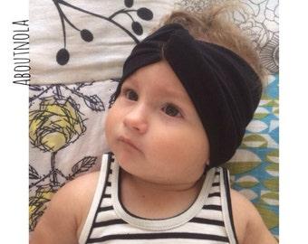 Black twisted turban-black baby turban-black headwrap-adult turban-girls headwrap