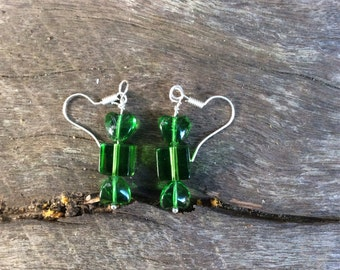 Glass bead green wrapped candy lolly look-a-like earrings on surgical steel hooks
