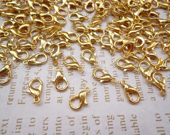 Sale-- 500pcs gold  plated lobster clasps 12mmx6mm