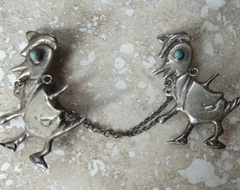 Vintage Mexico Silver Duck with Cane and Turquoise Eye Sweater Guards