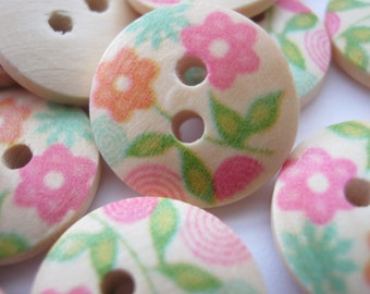 "10 Pastel Flowers Buttons Wooden Round (15mm) (5/8"") Sewing Knitting Childrens Clothing Buttons Accessories"