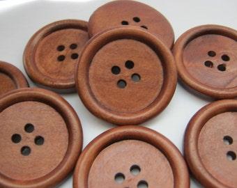 20 Large Dark Brown Coffee Wooden Button - 35mm - 1 3/8 inch - 4 ...