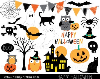 Halloween Clipart, Haloween Owl Clip Art, Bunting Spider Pumpkin Witch Haunted Ghost Spooky Bat - Commercial & Personal - BUY 2 GET 1 FREE!