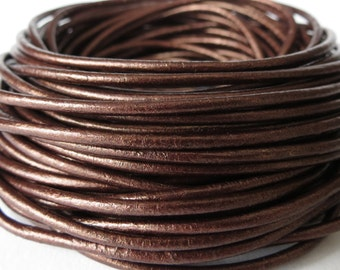 5 meters round leather cord in dark metallic copper, 2mm leather cord for jewellery making, UK craft supplies