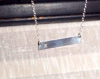 initial necklace, bar necklace, initial bar necklace