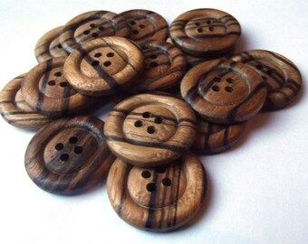 6 Large Brown Wooden Buttons 25mm 4 hole