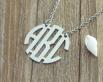 Personalized circle monogram necklace,3 initial nameplate, silver name necklace, monogrammed jewelry