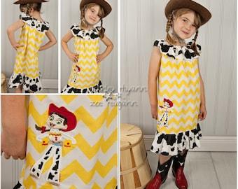 Jesse Dress Toy Storey Applique Ruffle Neck Peasant, Sizes 12mo-8