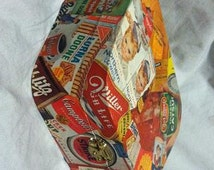 Vintage 1960's products collaged box, rounded trapezoid shaped
