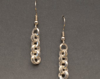 925 Sterling Silver Double Cable Earrings, Dangle Earrings, Sterling Silver  Earwires  (E19)