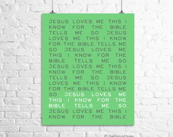 Jesus Loves Me Print for Nursery or Child's Room