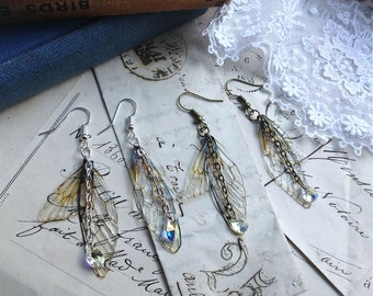 "Rather pretty Small  ""Natural Faerie wing earrings"""