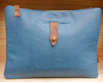 Handmade Supple Dark Azure/Steel Blue Leather Portfolio Clutch .