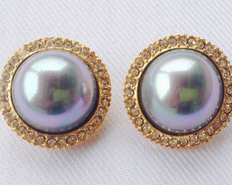 Vintage Faux Gray Mabe Pearl and Rhinestone Earrings, Wedding Jewelry, Mother of the Bride, Bride, Maid of Honor, RS, Grey Mabe