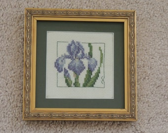 Framed cross stitch flower embroidery- Iris