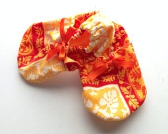 Orange Hawaiian baby booties