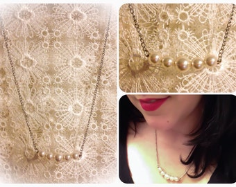 """Delicate pearl necklace on 16"""" silver chain"""
