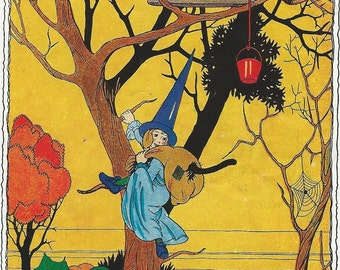 Childrens book Halloween witches and  fairies 1936