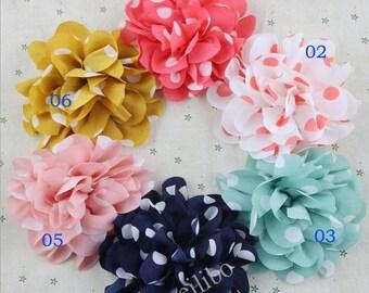 6 pcs Dot Chiffon Flower, Headband Flowers, Craft Flowers, Fabric  Flowers, Flower Applique, Wholesale Flowers