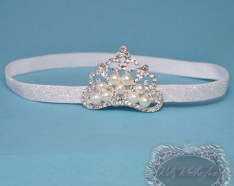Tiara Headband Baby Newborn Glitter Headband with Tiara Crown Rhinestone with Pearls