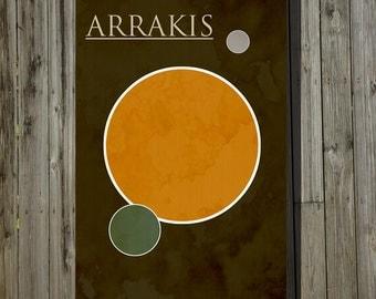 Dune poster movie art minimalist poster geekery art print sci fi print Arrakis home decor wall art