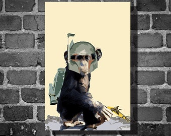 Star Wars Boba Chimp children's art nursery room art home decor minimalist poster star wars animal