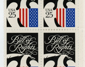 25 year old,  4, U.S. Stamps, Date, 1989, Scott # 2421, The Bill of Rights,  Un-Used,   Very fine to mint state.   613a