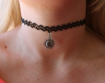 Celestial Sun & Moon Choker Necklace, Henna Stretch Tattoo Choker, Sterling Silver sun and moon necklace