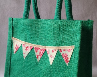 Handmade Green or Blue Jute lunch bag with padded handles with summer bunting.. school lunch bag