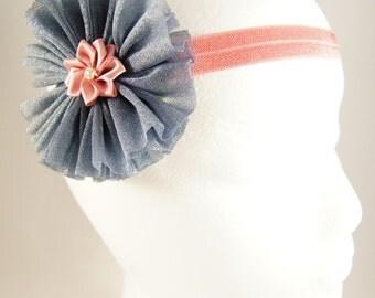 Pink and gray stretch headband