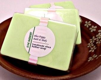Lime Sherbert Soap, Handmade Shea Butter Soap, Natural Soap Bar, Lime Green Soap