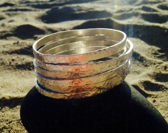 Handmade Pure Fine Silver Hammered Bangles