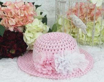 Girls Sun Hat,Baby Girls Sun Hat,Sun hat with silk handmade flowers ,girl sunhat...baby girl sunhat...fancy sunhat.  Sun Hat with flower