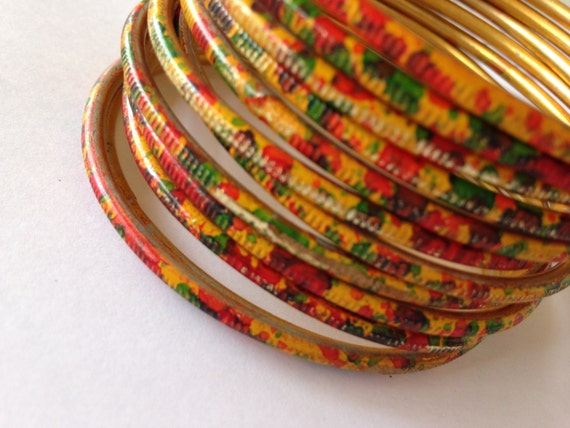 Mustard metal bangles with Red Green Golden design, good accessory for various color dresses, bright colors, Set of 6