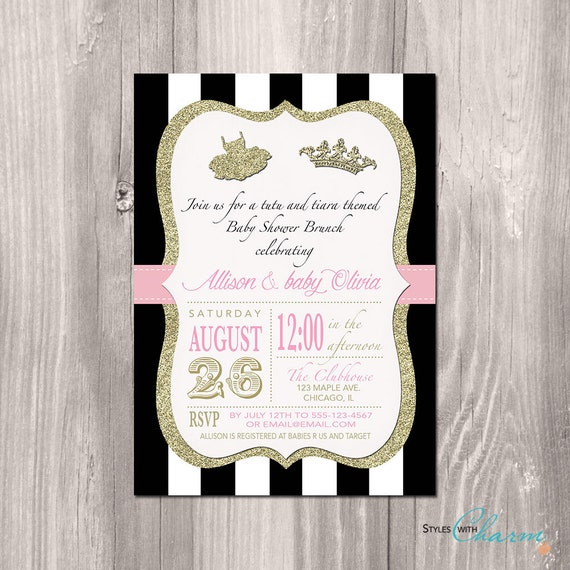 tutu baby shower invitation tutu and tiara baby shower invitation