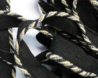 Black Cream White Braided Cording - Decorative Trim 549