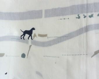 1 Yard- Yoshiko Jinzenji Printed by YUWA - Dog and trail - Light Weight Cotton