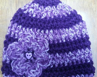 Baby Girl Hat, Baby Hat, Crochet Beanie hat, Crochet Flower Hat, Crochet Baby Hat, Sizes 0-12 Months