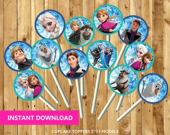 25% OFF Frozen Cupcake Toppers - Instant Download - Frozen Birthday - 15 Models - Party Printable - PDF Digital File