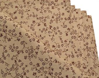 Napkins Flowers on Beige Cotton Set of 6
