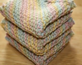 Pastel Knit Dish Cloth Set of 3