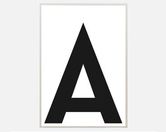 "Poster download ""A"" alphabet letters typography graphic abstract illustration text poster inspiration nursery living room office home decor"