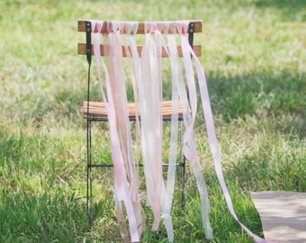décoration de chaise ruban rose pour mariage,  ribbon wedding chair decoration