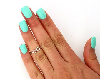 sterling silver knuckle ring Infinity design above knuckle ring adjustable midi ring also toe ring (T-92)
