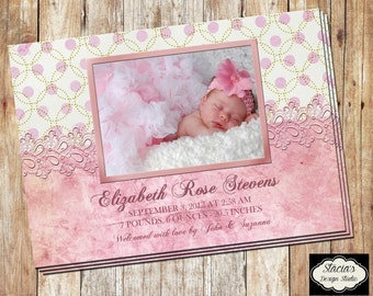 Customizable Baby Girl New Baby Birth Announcement - Digital File