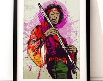 Jimi Hendrix portrait print, Jimi Hendrix art print, Jimi Hendrix inspired print, portrait print, Jimi Hendrix illustration, Hendrix art
