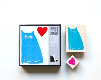 "Rubber stamp set ""Cat In Love"""