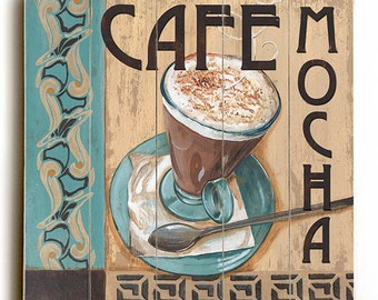 Cafe Mocha Coffee Colorful Planked Wooden Wall Art Sign